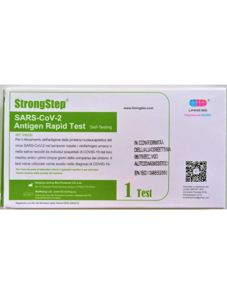 Test rapido antigenico Covid-19 Tampone nasofaringeo e salivare 1 kit